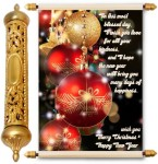 lolprint christmas and new year gold scroll greeting card(multicolor, pack of 1)