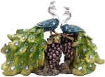 art n hub peacock couple bird figurine home interior décor gift statue(h-24 cm) decorative showpiece  -  24 cm(earthenware, multicolor)