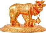 art n hub kamdhenu cow and calf pooja mandir idol - home décor gift statue(h-6 cm) decorative showpiece  -  6 cm(aluminium, gold)