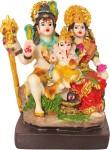 art n hub lord shiva family / shiv parivar / parvati , ganesh idol - marble look handicraft decorative home & temple décor god figurine / statue gift item decorative showpiece  -  10 cm(ceramic, multicolor)