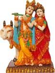 art n hub lord radha krishna / radhey krishan couple ldol - handicraft decorative home & temple décor god figurine / statue gift item decorative showpiece  -  19 cm(earthenware, multicolor)