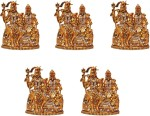 art n hub set of 5 lord shiva family / shiv parivar parvati ganesh idol god statue decorative showpiece  -  6 cm(brass, gold)
