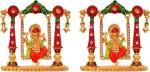 art n hub set of 2 god ganesh / ganpati / lord ganesha idol - statue gift item decorative showpiece  -  7 cm(brass, multicolor)
