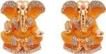 art n hub set of 2 god ganesh / ganpati / lord ganesha idol - statue gift item decorative showpiece  -  5 cm(brass, yellow)