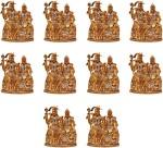 art n hub set of 10 lord shiva family / shiv parivar parvati ganesh idol god statue decorative showpiece  -  6 cm(brass, gold)