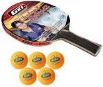 GKI Combo of Two, One 'Chelonz Hybridz ' table tennis racquet and Five 'KUNG FU' Ping Pong Balls- Table Tennis Kit