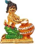art n hub lord krishna makhan chor shri krishan idol god statue gift item decorative showpiece  -  5 cm(brass, gold)