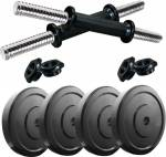 COGNANT Fitness Home Gym of 10kg (4 * 2.5kg) PVC Plates with 2 DUMBBELL RODS Adjustable Dumbbell