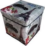 Continental Storage Box Portable & Foldable Laundry Box Cum Sitting Stool Folding/Sitting Stool/Stool/Pouffes for Living Room/Puffy Stool 30 cm x 30 cm x 30 cm (Paris) Kitchen Stool