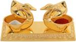 aakrati beautiful roli-chandan, chawal-akshat box with loving bird duck pair chopda for gift and pooja purpose decorative showpiece  -  6 cm(zinc, gold)