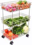 3D METRO Stainless Steel 3-Tier Fruits & Vegetable Trolley Stainless Steel Kitchen Trolley