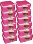 ultimatefashionista saree cover High Quality Pack of 12 Non Woven 10inch Designer Height Saree Cover Gift Organizer bag vanity pouch Keep saree/Suit/Travelling Pouch (Pink) High Quality Pack of 12 Non Woven 10inch Designer Height Saree Cover Gift Organize