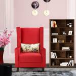 Flipkart Perfect Homes Amor Straight Red Wing Chair Solid Wood Living Room Chair