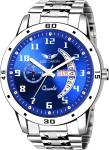 Lois Caron LCS-8188 BLUE DIAL AND SILVER STRAP DAY & DATE FUNCTIONING WATCH FOR BOYS Analog Watch  - For Men