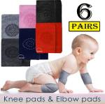 Babymoon (Set of 6 Pairs) Baby Knee pads for Crawling, Anti-Slip Padded Stretchable Elastic Cotton Soft Breathable Comfortable Knee Cap Elbow Safety Protector Jet Black, Smoke Grey, Charcoal Grey, Baby Pink, Dark Blue, Red Baby Knee Pads