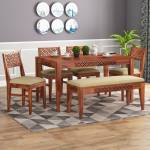 Mooncraft Solid Wood 6 Seater Dining Set