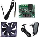 Electronicspices Combo for DIY Incubator W1209 12V DC Digital Temperature Controller Board with 12v 1amp charger and 3 inch fan Electronic Components Electronic Hobby Kit