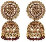 Divastri Gold Plated Exclusive Traditional Maroon Jhumki Earring Alloy Jhumki Earring
