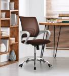 Finch Fox Low Back Royal Ergonomic Desk Mesh Chair in Brown Colour Fabric Office Executive Chair
