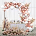 Bash N Splash Solid Rose gold & White Balloon Garland Party Decoration Pack With confetti & Chrome balloon with pump (Pack of 123) Balloon