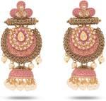 Seevee Fashion Traditional Designer Pink Meenakari Antique Jhumka Zircon Zinc Jhumki Earring
