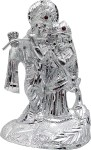 art n hub lord radha krishna-silver plated -white metal statue with stone work (h-15 cm) decorative showpiece  -  15 cm(silver plated, silver)