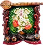 art n hub lord ganesha / god ganpati wall hanging home décor gift item decorative showpiece  -  21 cm(earthenware, multicolor)