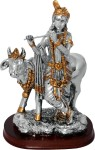 art n hub lord krishna makhan chor shri krishan with cow idol god statue decorative showpiece  -  19 cm(gold plated, gold, silver)