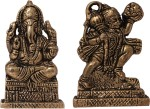 art n hub set of 2 combo lord ganesha & hanuman - statue gift item decorative showpiece  -  6 cm(brass, gold)