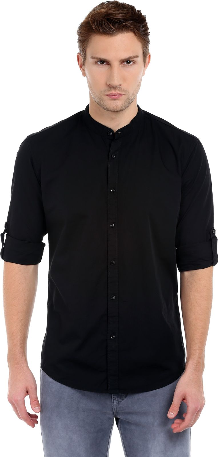 Dennis Lingo Mens Solid Casual Black Shirt