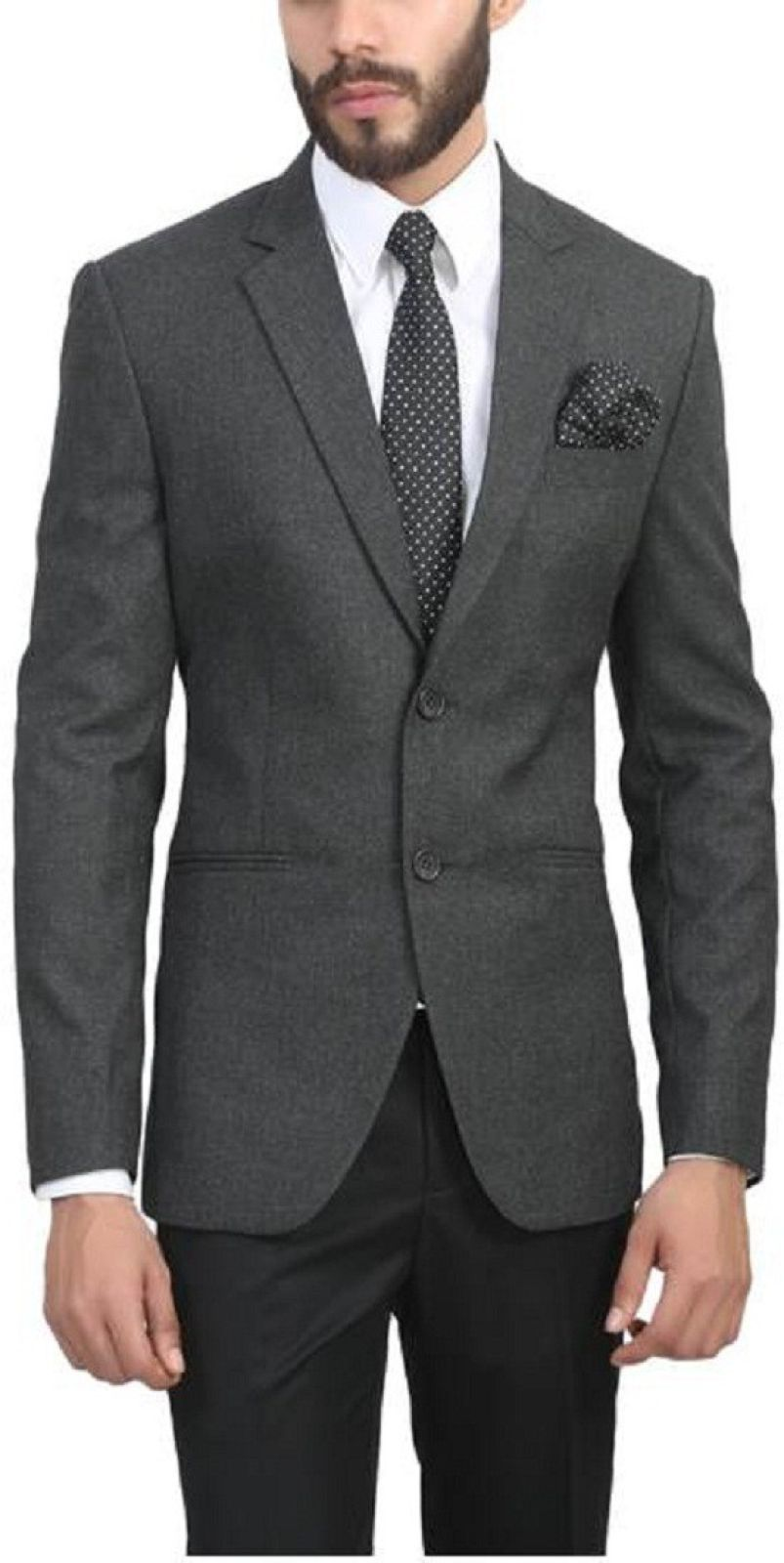 ManQ Solid Single Breasted Wedding, Formal Men's Blazer (Grey)