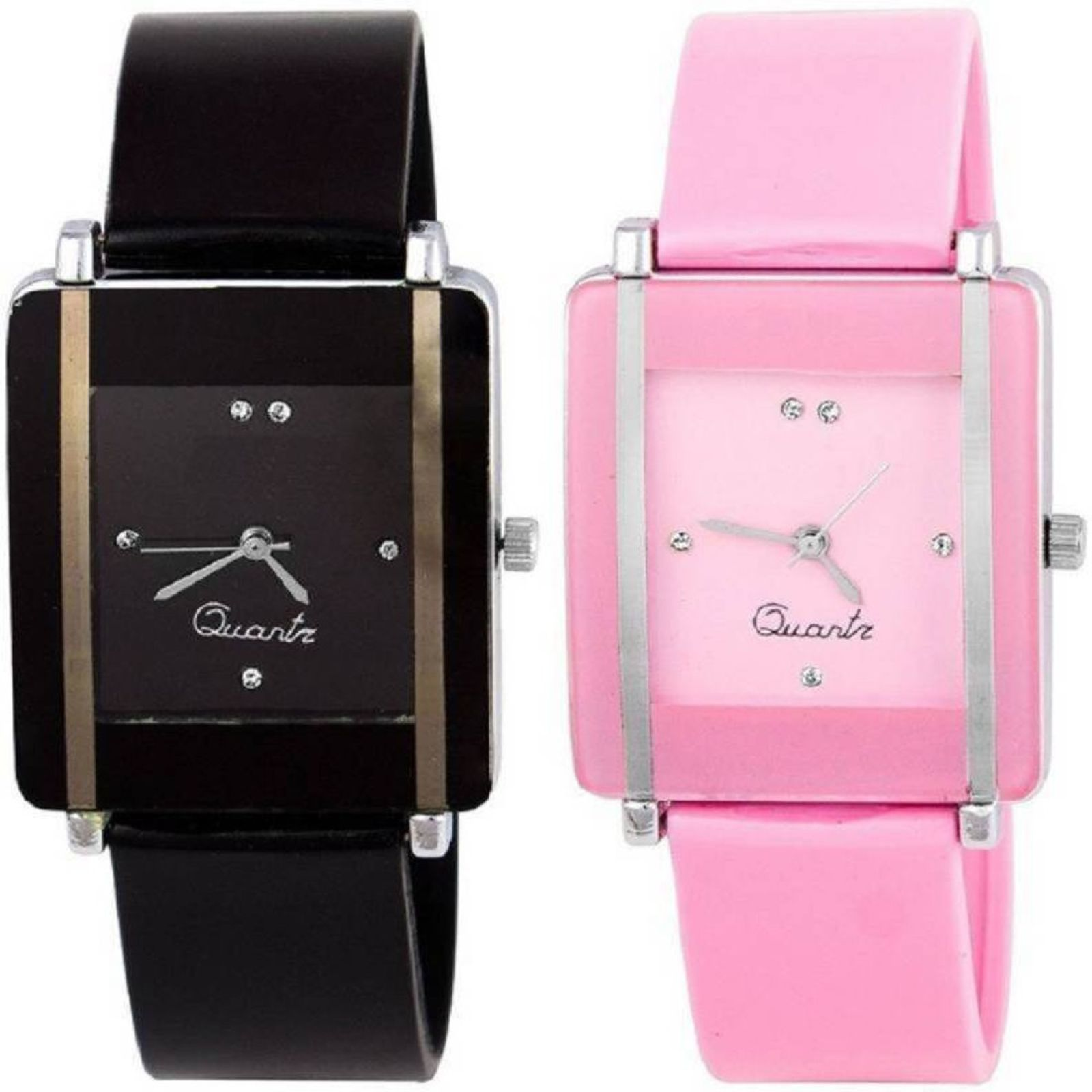 ReniSales SQUARE DIAL PINK BLACK COMBO FOR YOUR FASHION Watch - For Women