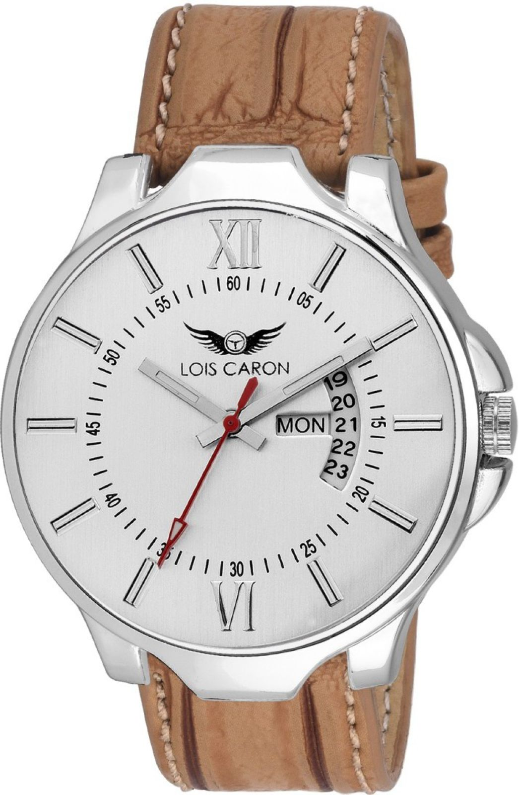 Lois Caron LCS-4116 WHITE DAY & DATE SERIES SE CROCO STRAP DAY AND DATE FUNCTIONING Watch - For Men