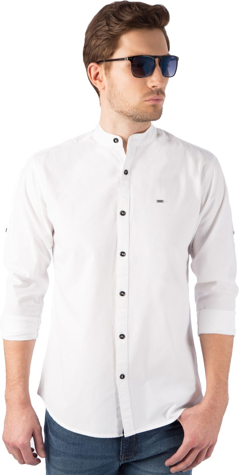 Rodid Mens Solid Casual Mandarin Shirt