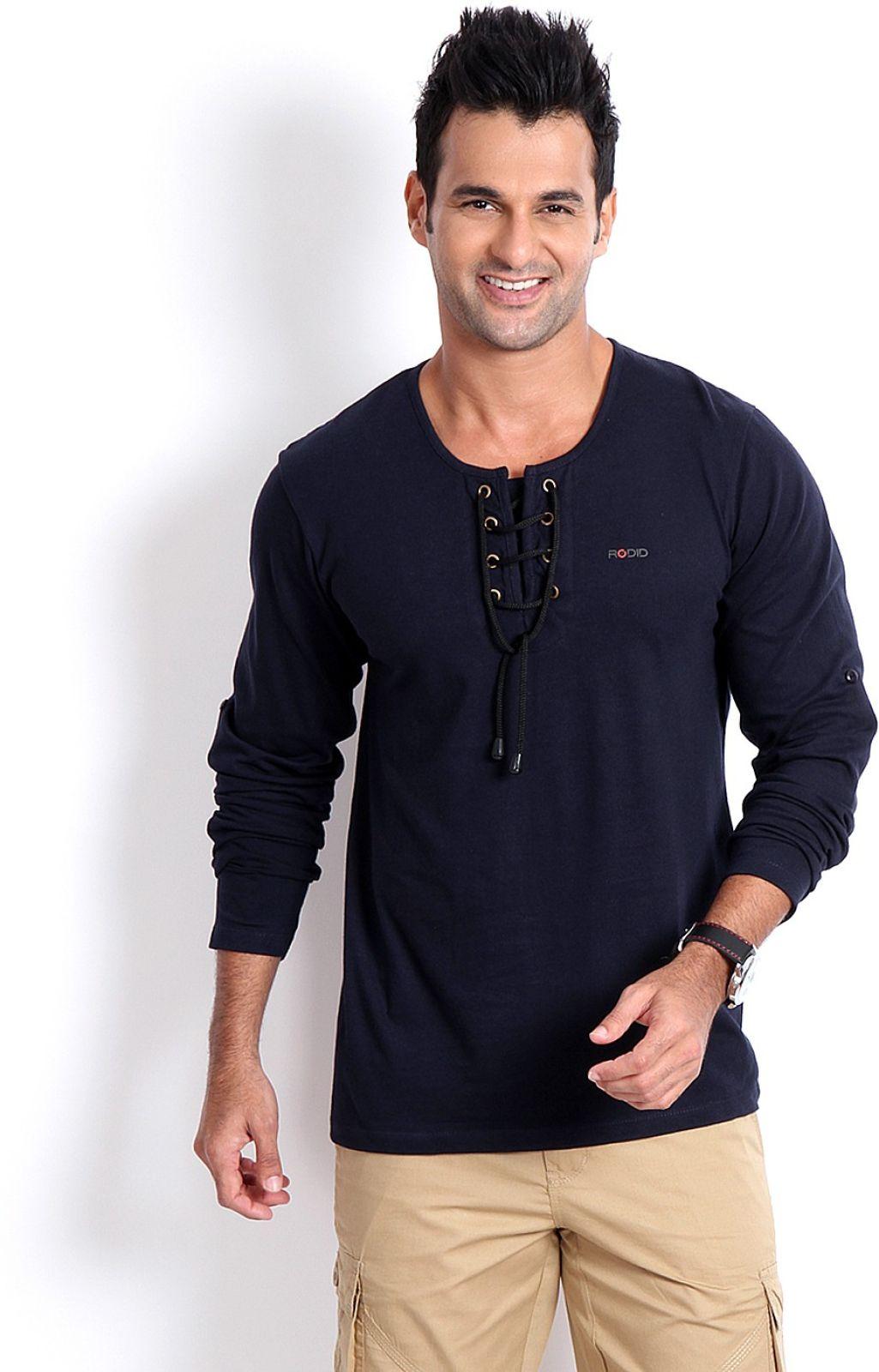 Rodid Solid Menrs Henley Dark Blue T-Shirt