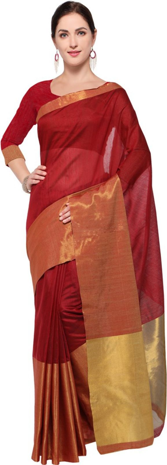 Saara Plain Daily Wear Art Silk Saree (Maroon, Gold)