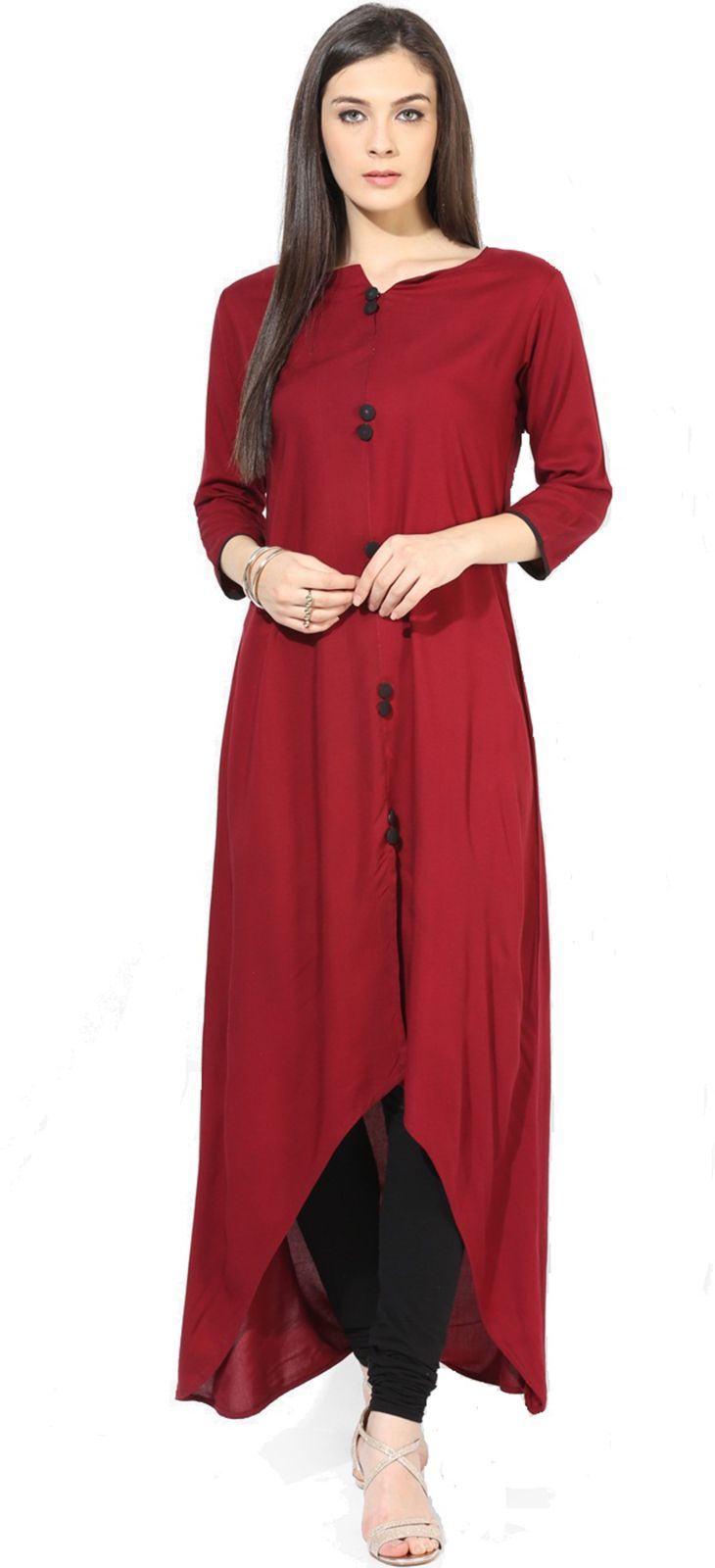 Patiala House Casual Solid Women Kurti (Red)