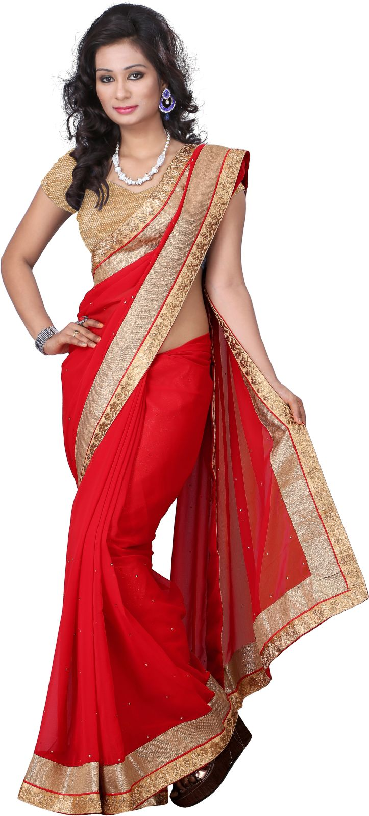 Aai Shree Khodiyar Art Solid Bollywood Chiffon Saree (Red)