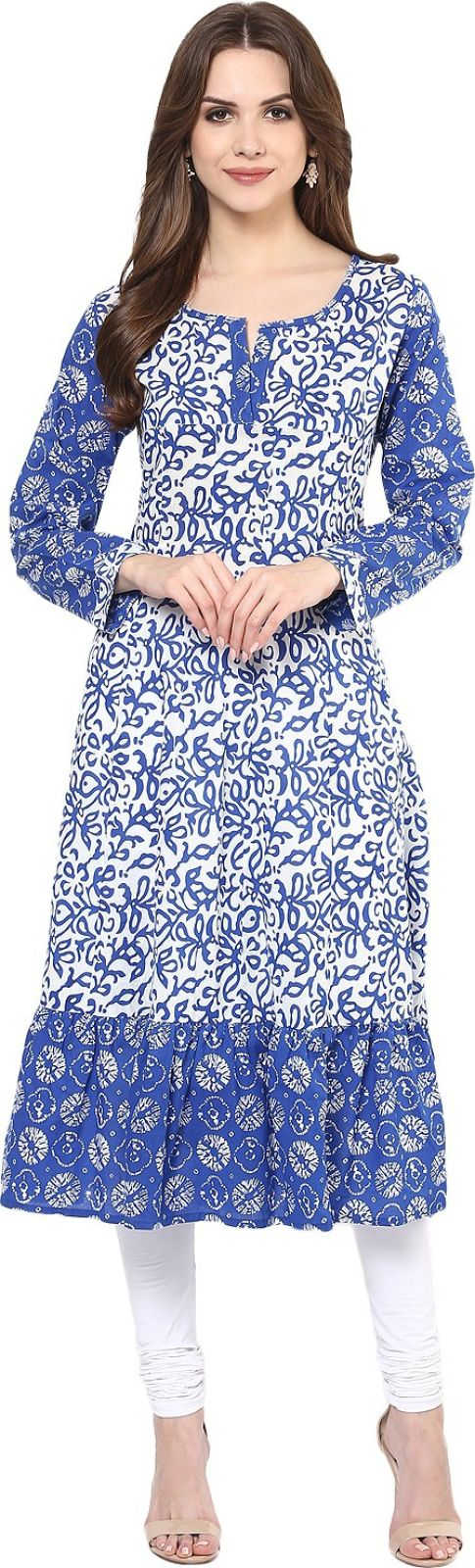 Krapal Casual Printed Womens Kurti (Blue)