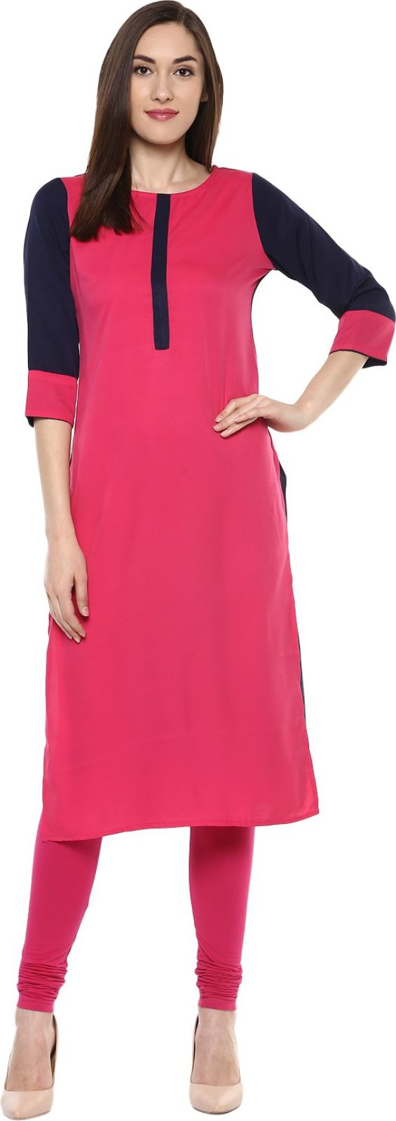 KRAPAL Casual Solid Women Kurti (Pink, Blue)