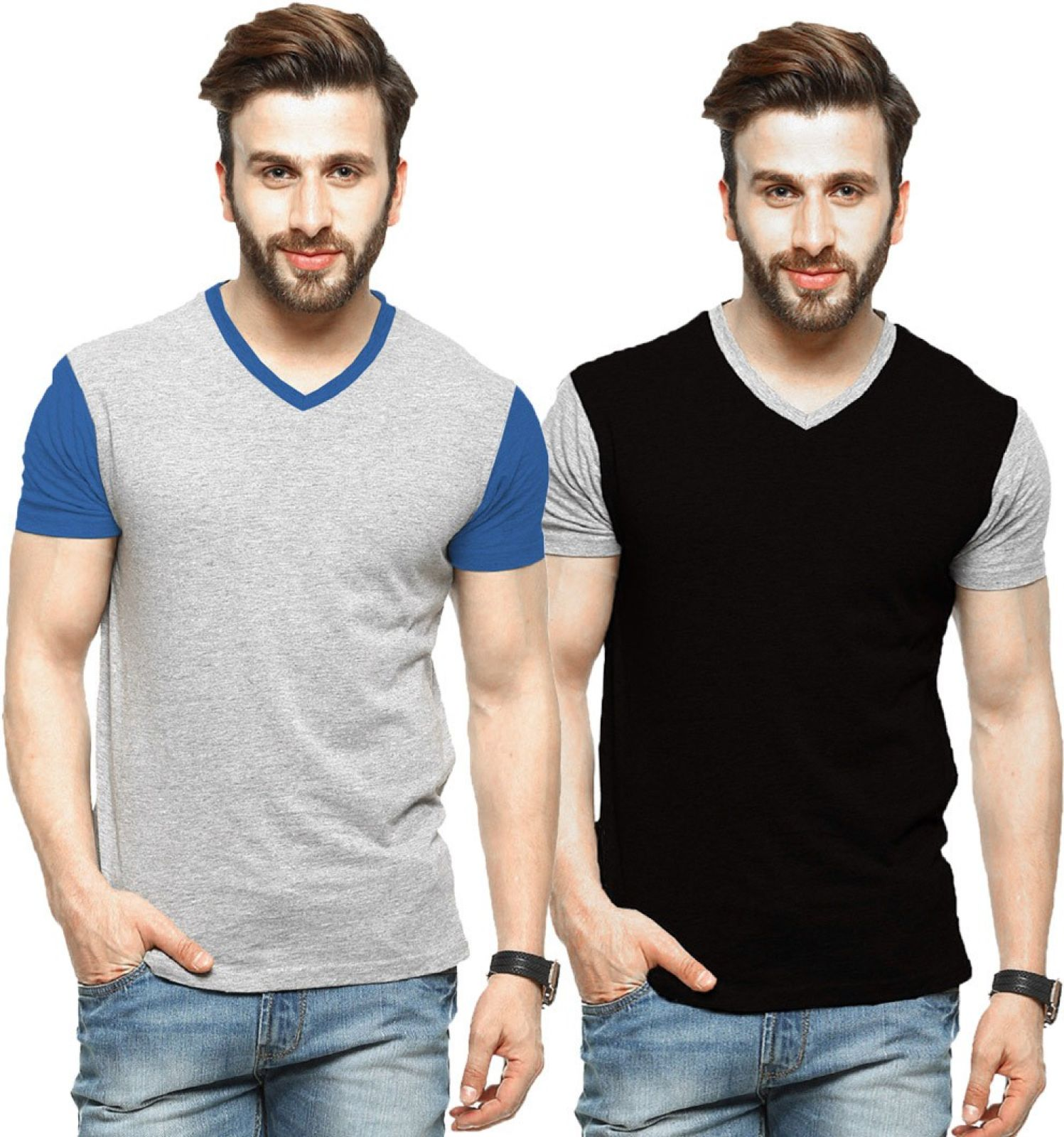 Tripr Solid Men V-neck Multicolor T-Shirt (Pack of 2)