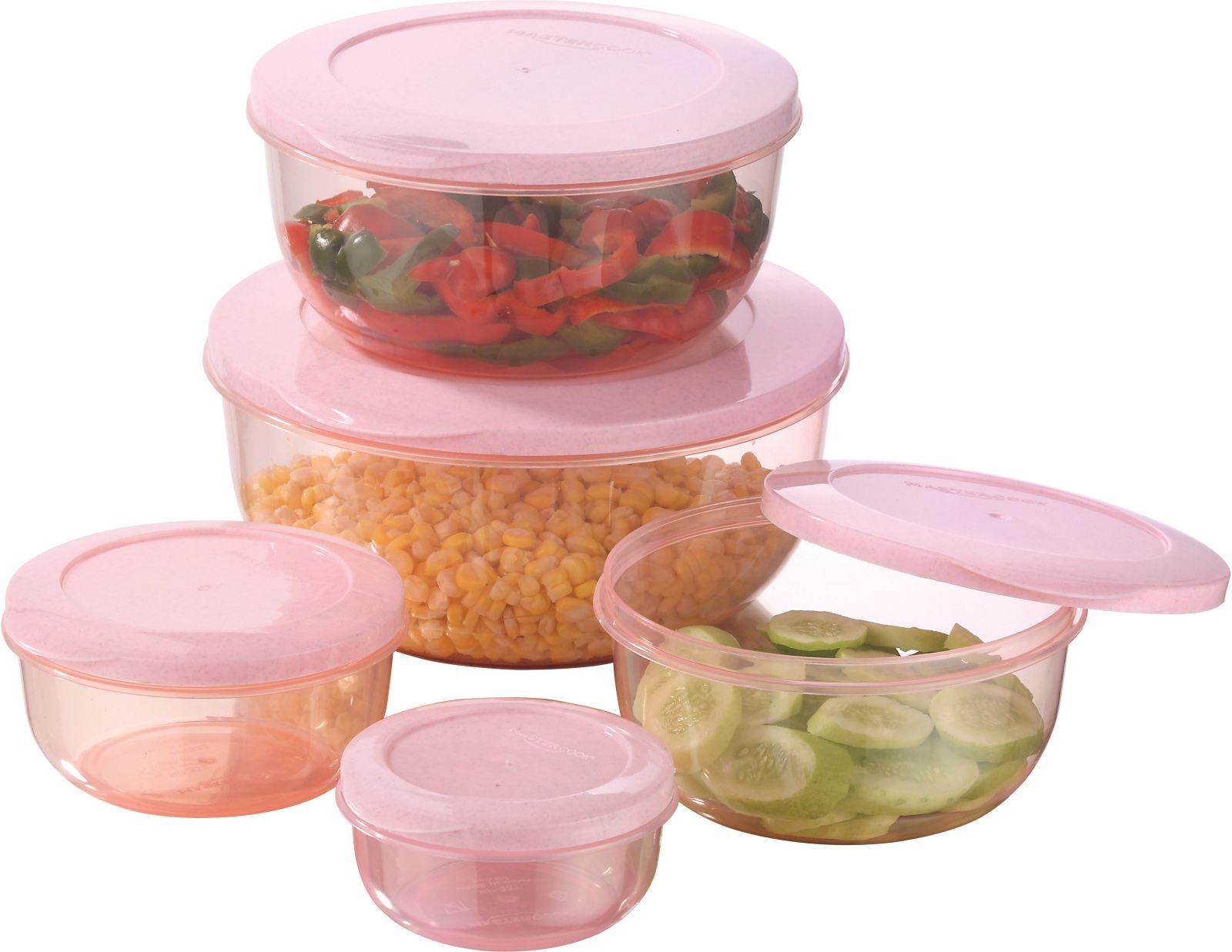 MasterCook - 290 ml, 580 ml, 1000 ml, 1700 ml, 2700 ml Plastic Grocery Container (Pack of 5, Orange)