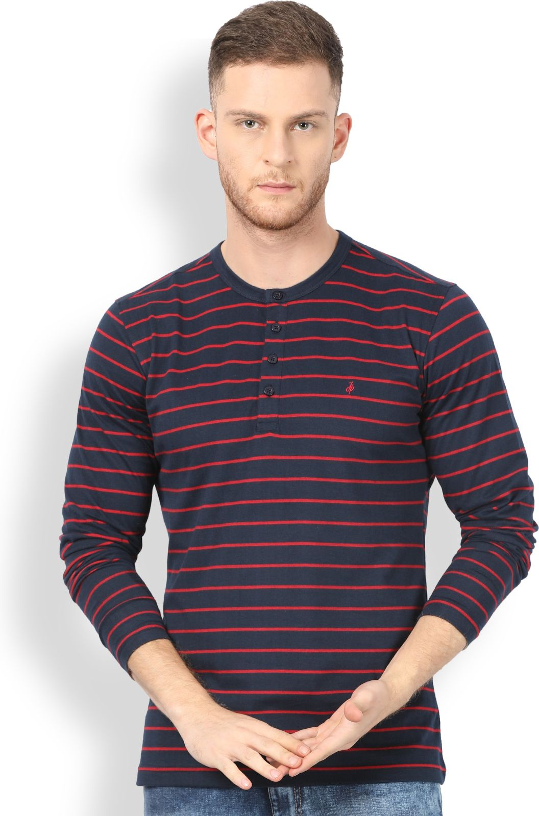 John Players Striped Mens Henley Blue T-Shirt