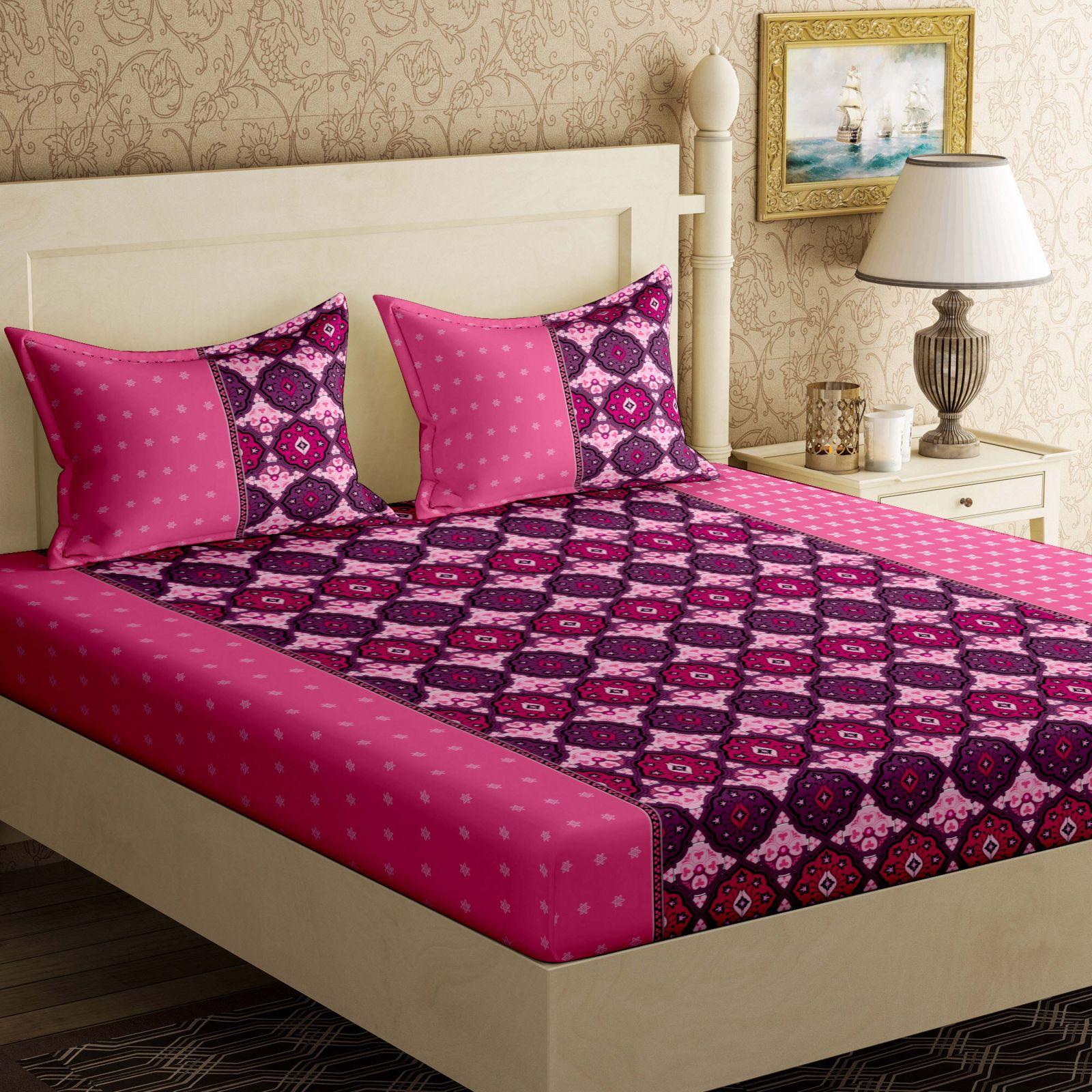 Bella Casa 104 TC Cotton Double Floral Bedsheet  (1Bed-sheet,2 Pillow covers, Multicolor)