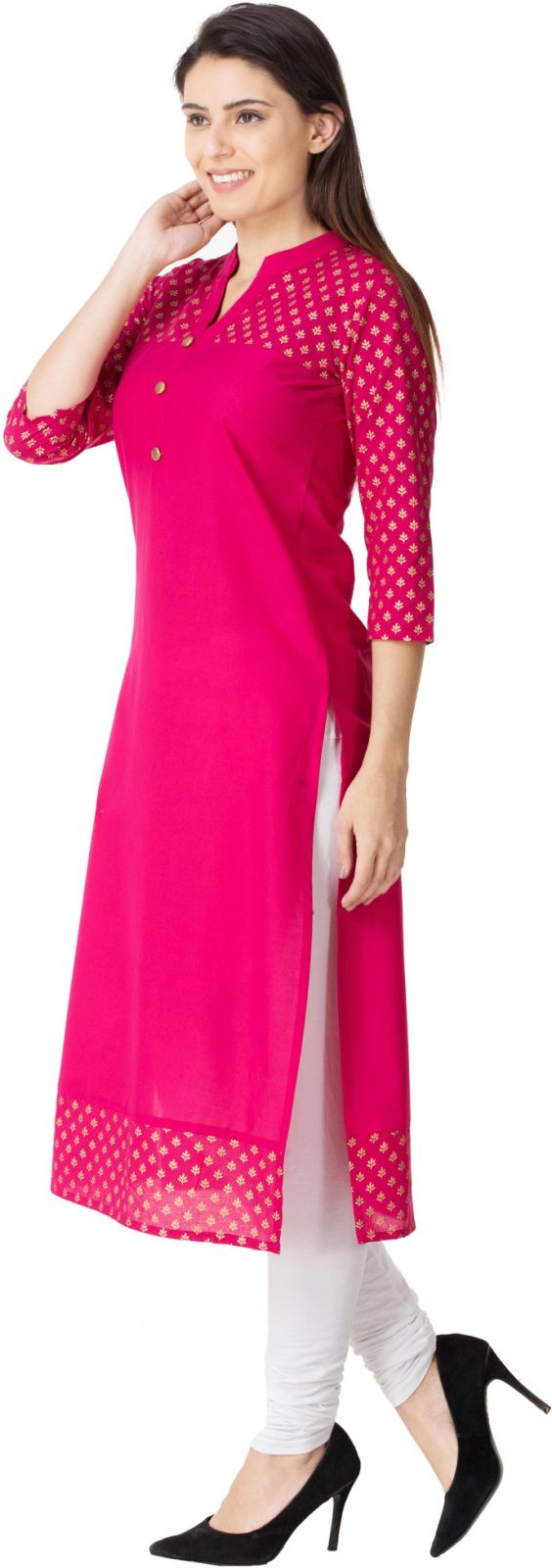 M&D Casual Printed Womens Kurti (Pink)