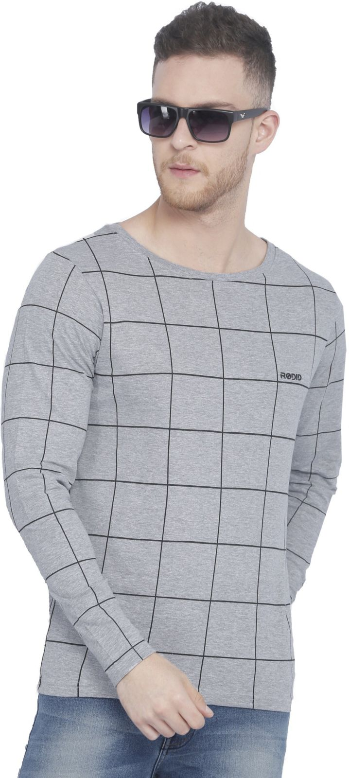 Rodid Printed Mens Boat Neck Grey T-Shirt