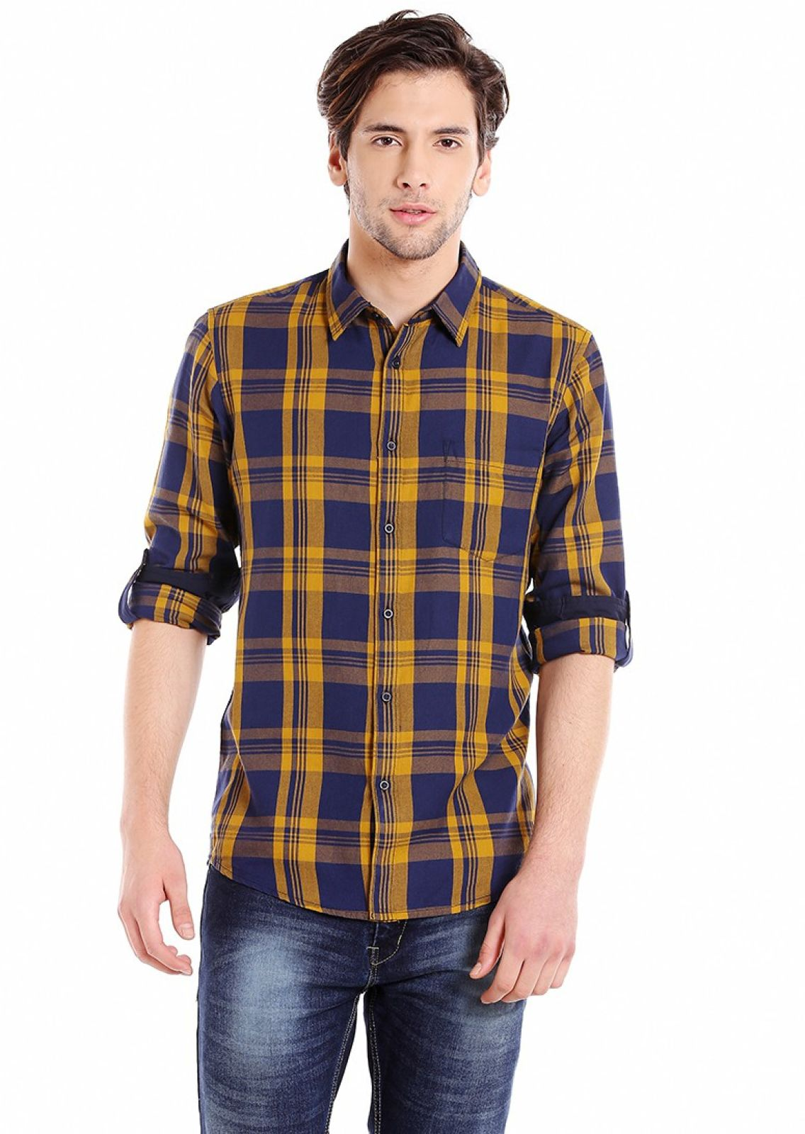 Dennis Lingo Men Checkered Casual Blue, Yellow Shirt
