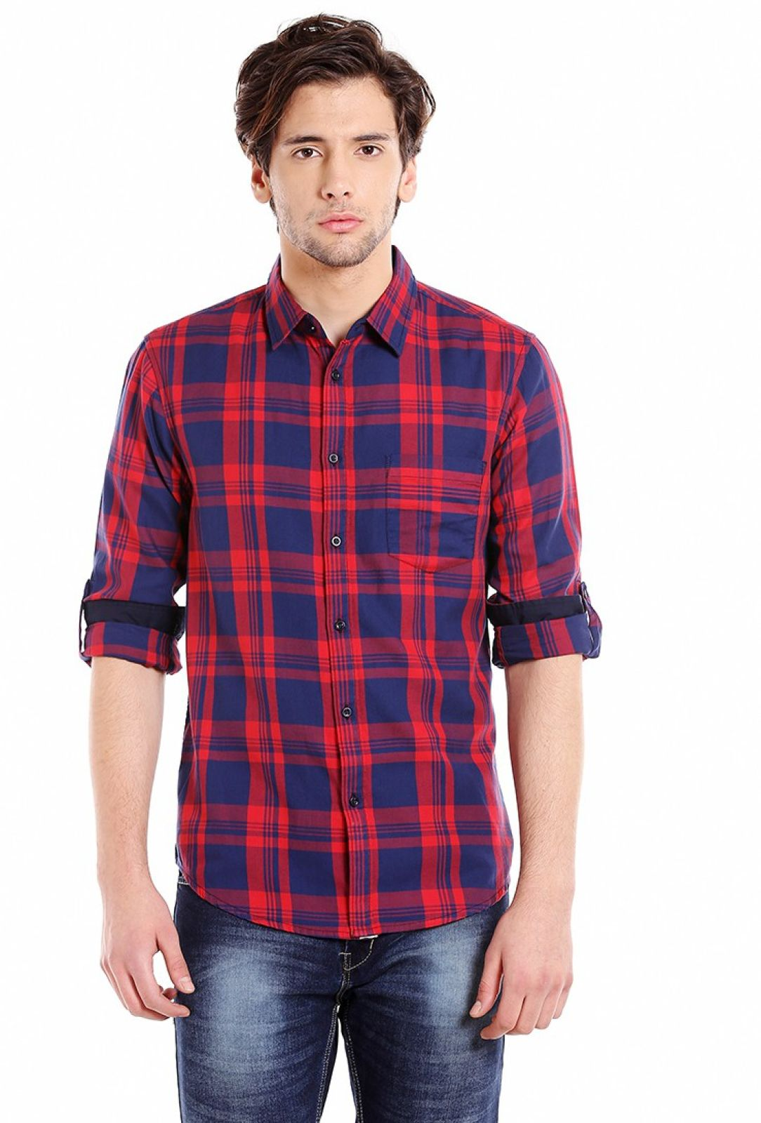 Dennis Lingo Men Checkered Casual Blue, Red Shirt