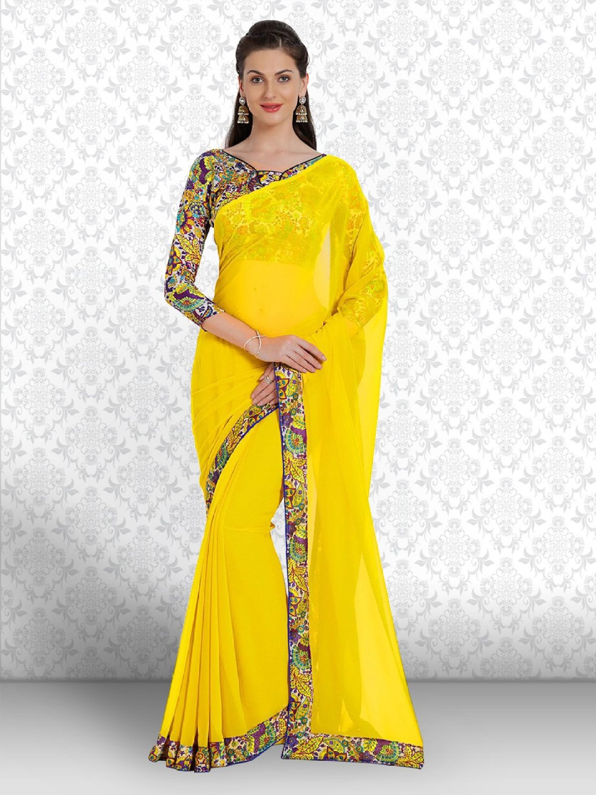 Divastri Floral Print Fashion Georgette Saree  (Yellow)