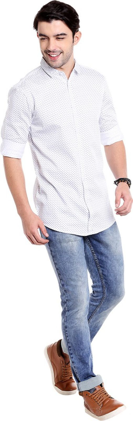 Dennis Lingo Men Printed Casual White Shirt